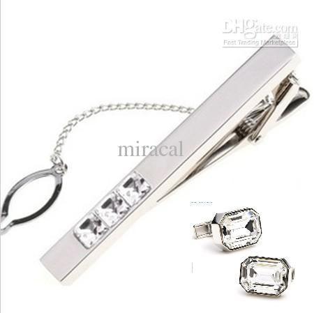 4e575d777baa 25set 8 Color Blinking Austrian Diamond Tie Bar Cufflinks Set Luxury ...
