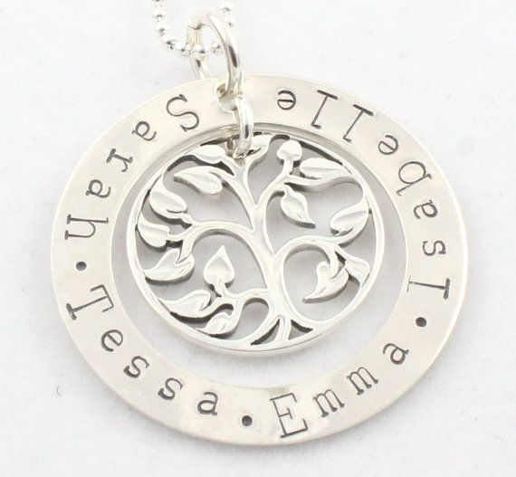 Custom Tree of Life Necklace Family Tree Tree of Life Hand Stamped Necklace Birthstone Tree of Life Tree Necklace Mother/'s Day Gift