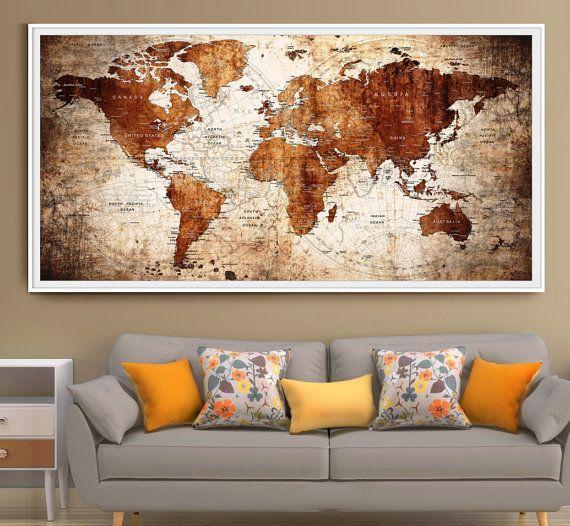 Push pin large wall decor world map, Large wall art world map poster ...