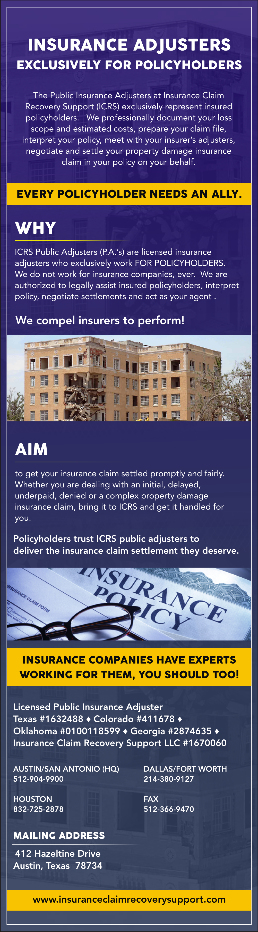 Insurance Claim Recovery Support LLC (http//www