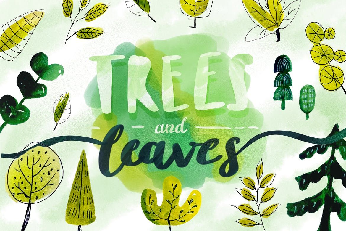 Trees Leaves Watercolor Objects By Cerpow On Tree Leaves