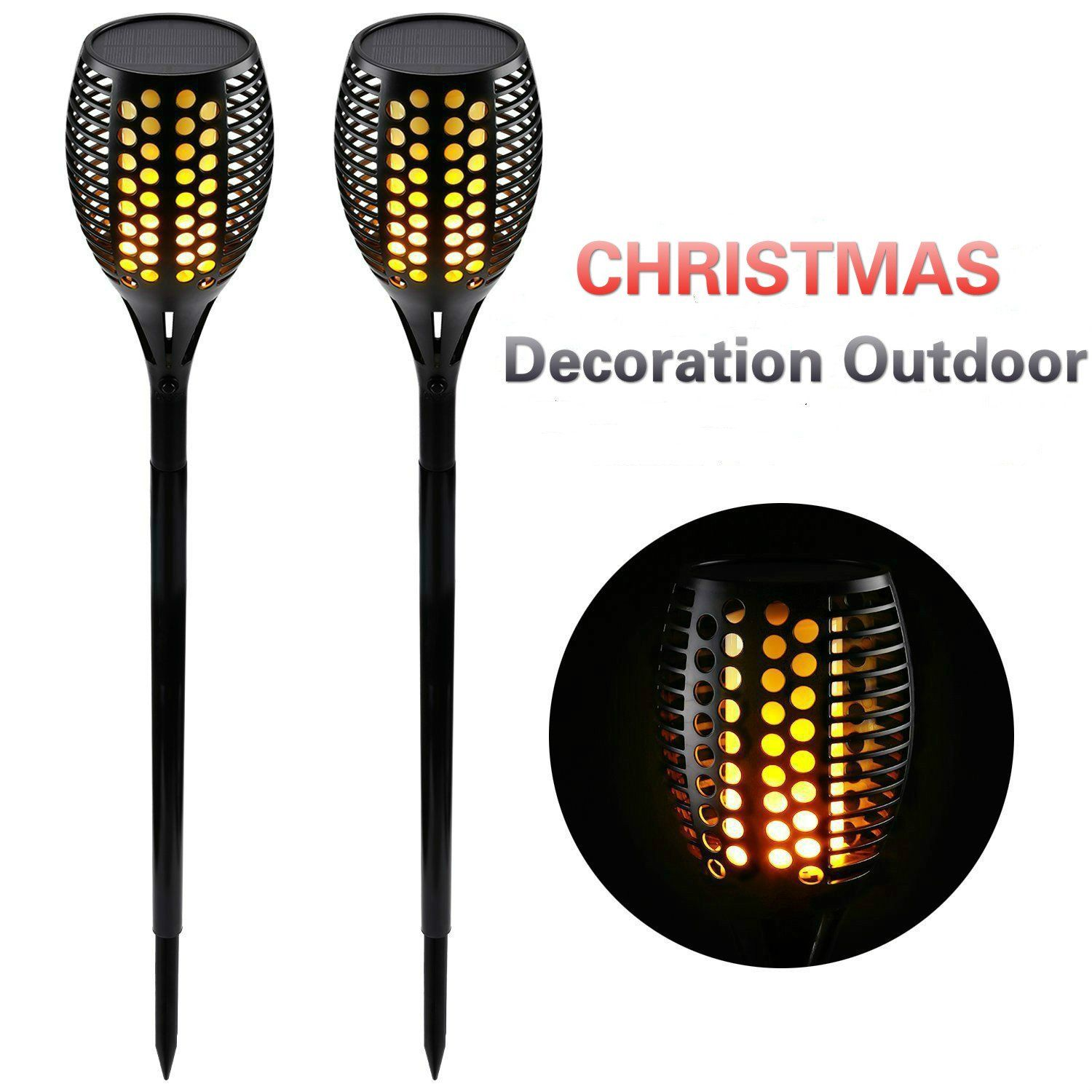 Solar Torch Lights Outdoor, Waterproof Flickering Tiki Torches Realistic  Flame Lighting Landscape Solar Lights Security