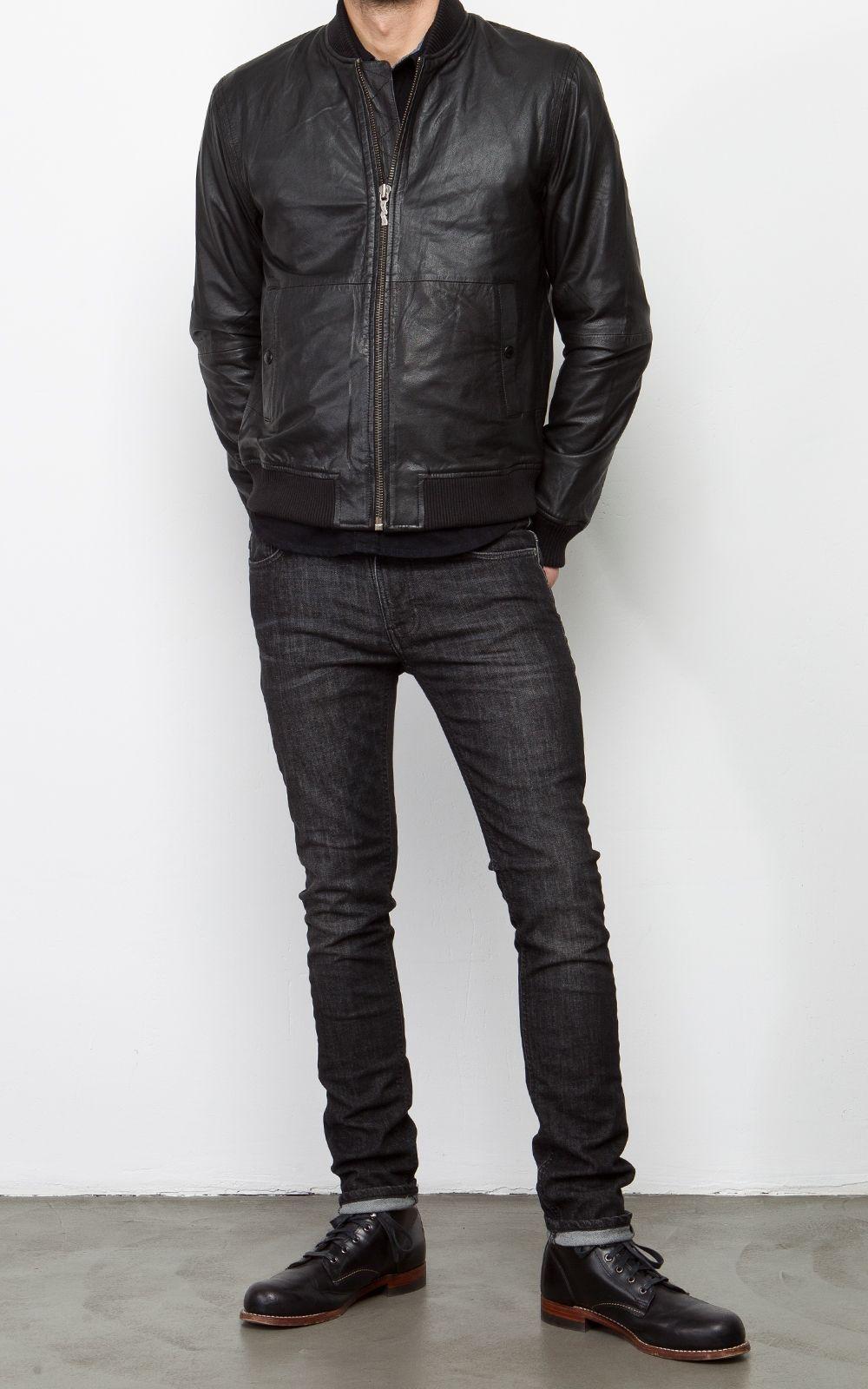 4830bc1e37 Cultizm.com - Cedric Bomber Leather Jacket Black Nudie Jeans Cedric Bomber  Leather Jacket Black 160244