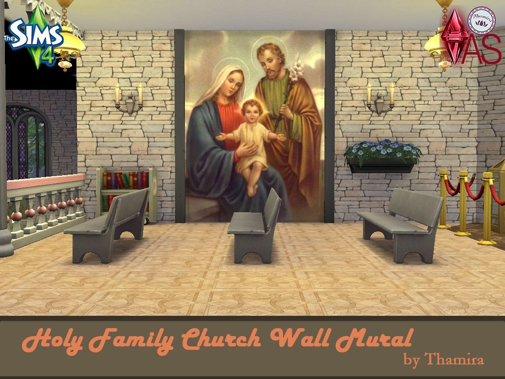 Holy Family Church Wall Mural  Wandgemälde mit der heiligen Familie für eine Kirche.  Mural with the holy family for a church.  https://www.allaboutsims.net/forum/index.php/Thread/16210-Holy-Family-Church-Wall-Mural/?postID=78401#post78401