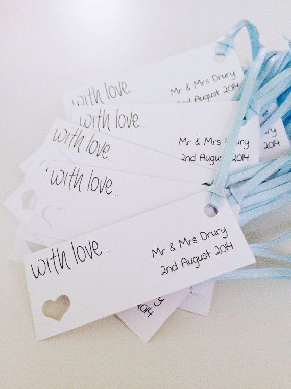 Pack Of 10 X Personalised Wedding Favour Favor Gift Tags Place Cards With