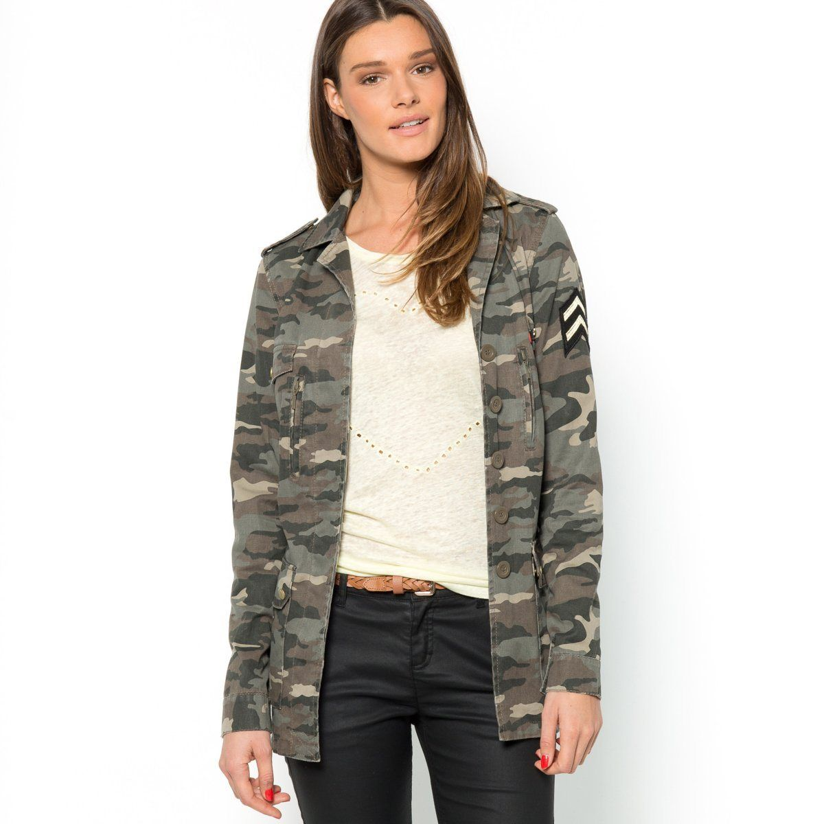 veste army coton imprim camouflage mode militaire pour femme pinterest vestes. Black Bedroom Furniture Sets. Home Design Ideas