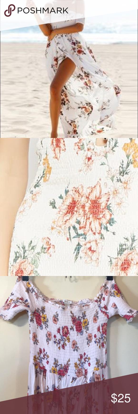 Pink dress forever 21  F Off Shoulder floral Maxi Dress