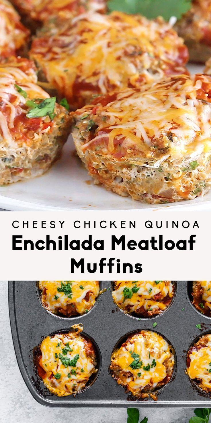 Cheesy Chicken Quinoa Enchilada Meatloaf Muffins Cheesy Chicken Quinoa Enchilada Meatloaf Muffins,