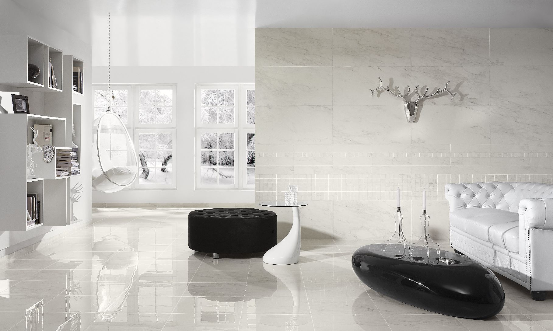 Luxury living room with white ceramic tiles flooring mimar luxury living room with white ceramic tiles flooring dailygadgetfo Image collections