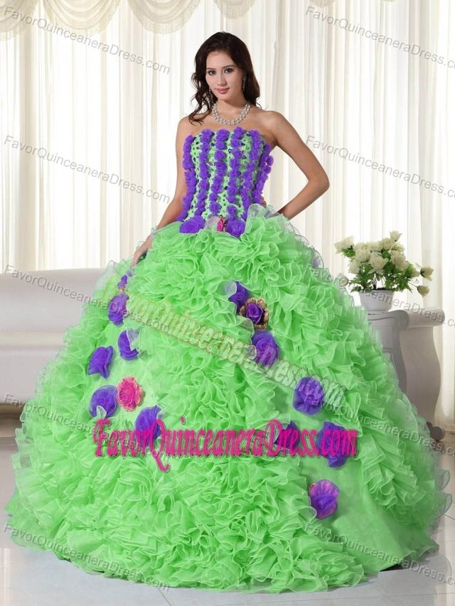 575d35ad17b Strapless Spring Green and Purple Organza Quinces Dresses with Beadings