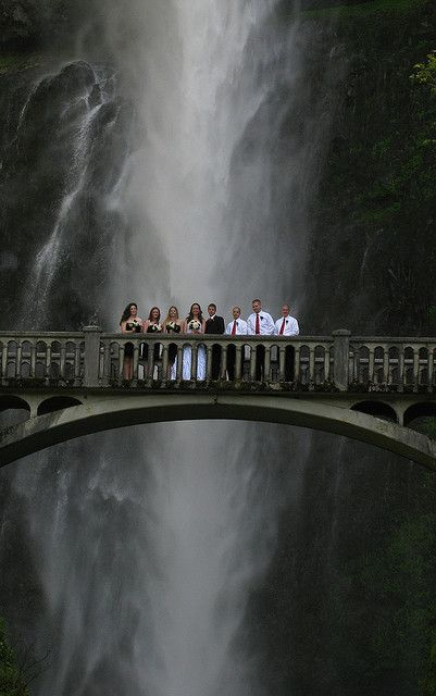 Multnomah Falls Wedding Party