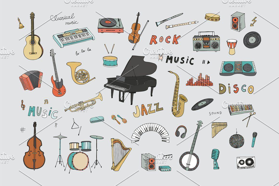 Musical Instruments Graphic Design Pattern Line Illustration Graphic Patterns