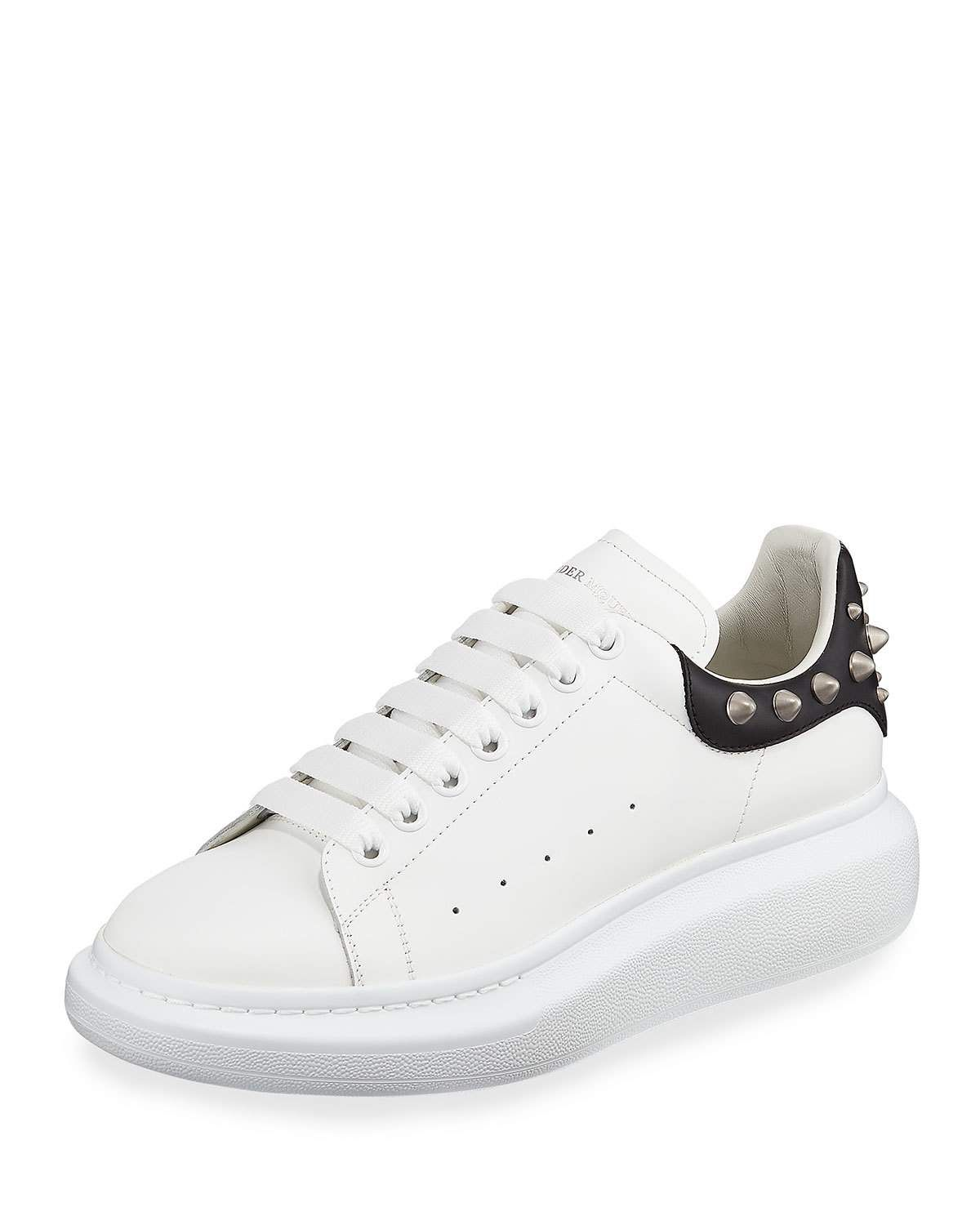 Men's Larry Leather Lace up Platform Sneakers With Spiked