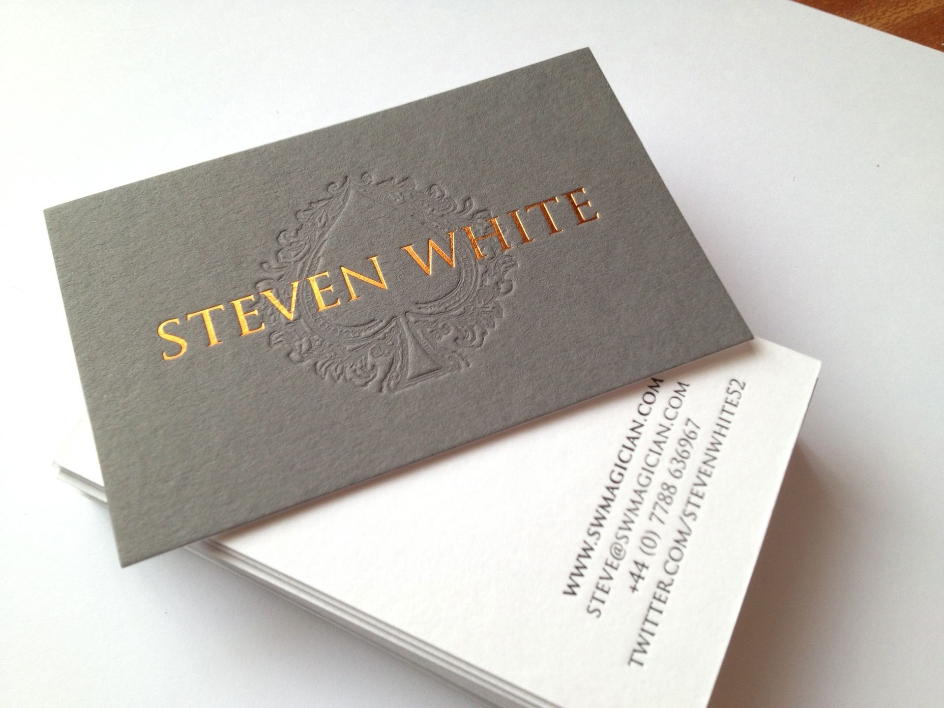 Gold Embossed Business Card Jpg 1920 1440 Gold Foiled Onto Pale Grey Duplexed Onto White Colorful Business Card Embossed Business Cards Business Card Design