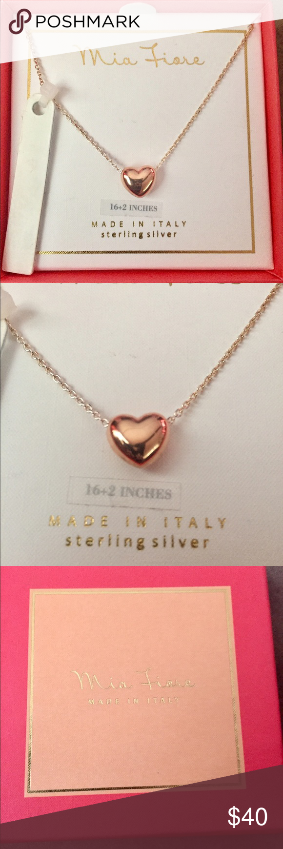 NEWMia Fiore rose gold puffed heart SS necklace NWT Ss Rose gold