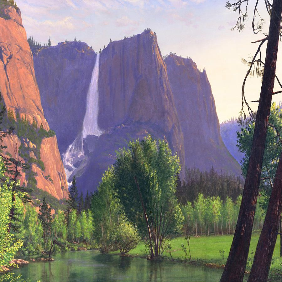 Mountains Waterfall Stream Western Landscape Square Format By Walt Curlee Western Landscape Waterfall Paintings Oil Painting Landscape