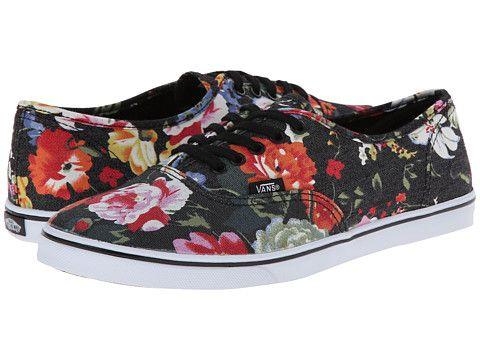 Vans Authentic™ Lo Pro (Floral) Black/True White - Zappos.com