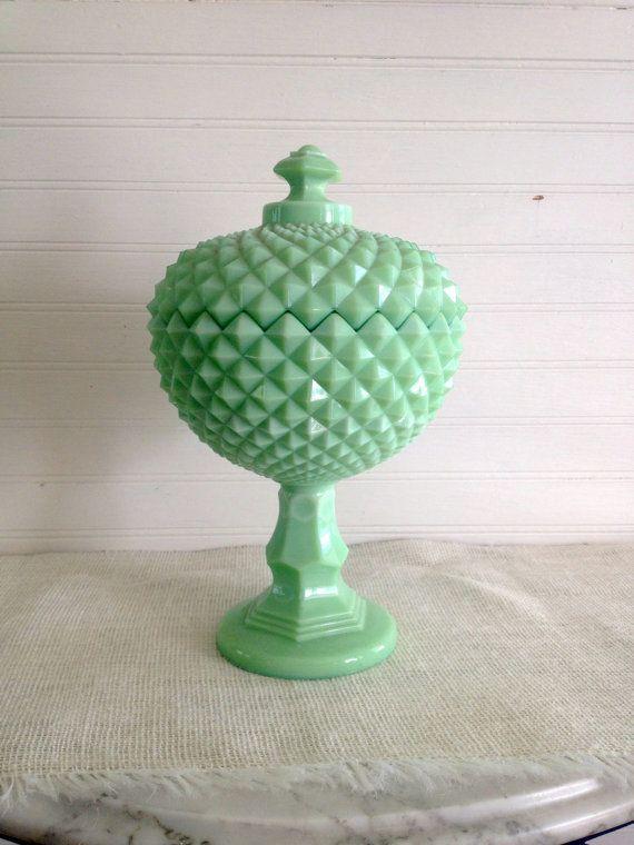 Green Milk Gl Candy Dish Mint