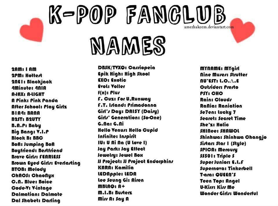 Kpop Fandom Names Kpop Fandom Names Pop Fandom Kpop