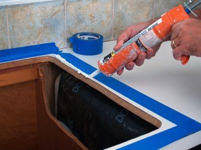 Caulk Around Kitchen Faucet In 2020 Faucets Diy Bathroom Sink Drain Replacing Kitchen Sink