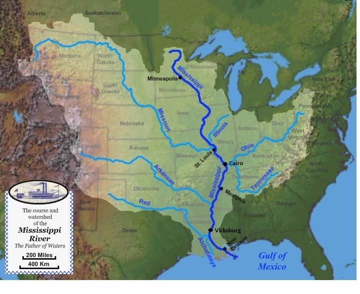 United States GeographyRivers And Lakes Outline Map US Rivers - Us map of the mississippi river