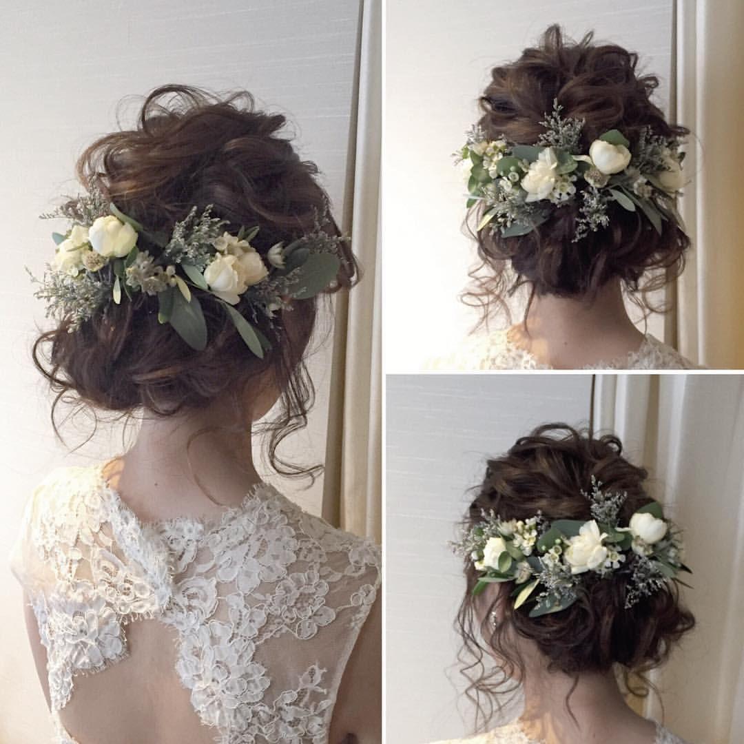 ヘアスタイル波ウェーブナチュラルウェディングウェディングヘアウェディングドレストリートドレッシングウェディングウェディングフォト 結婚結婚式結婚