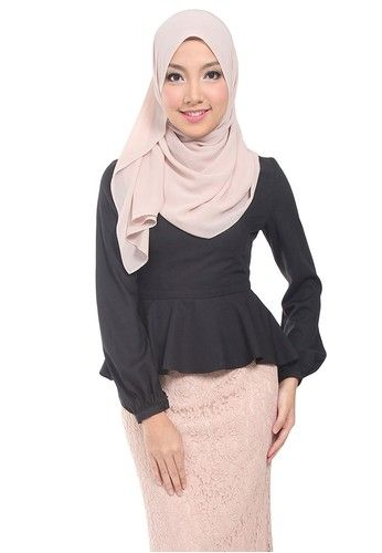 c6c701b474fe7e Nicky Soft Peplum Blouse from Poplook in black_1 | Adore Hijab ...