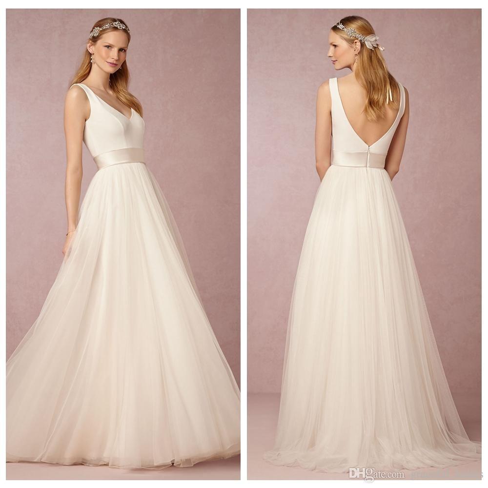 Simple casual wedding dresses long a line v neckline beach wedding