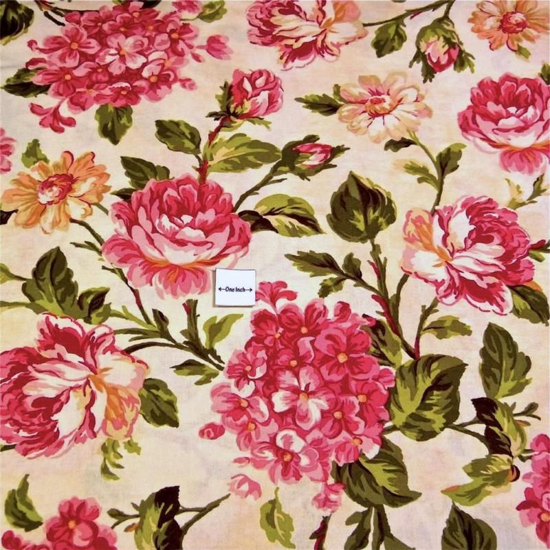 Ebay - Cotton Fabric Per Yard Floral Print, Large Pink Roses on Cream, by Wilmington