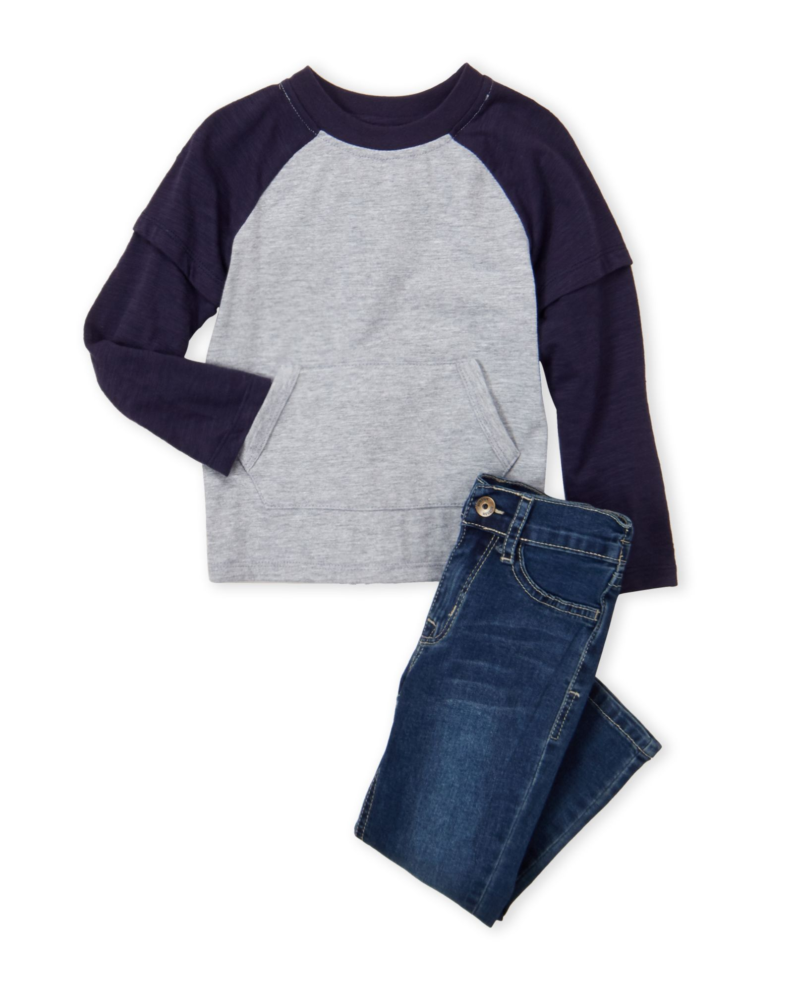 fbc44734136 Hudson (Toddler Boys) Two-Piece Raglan Long Sleeve Tee & Jeans Set ...