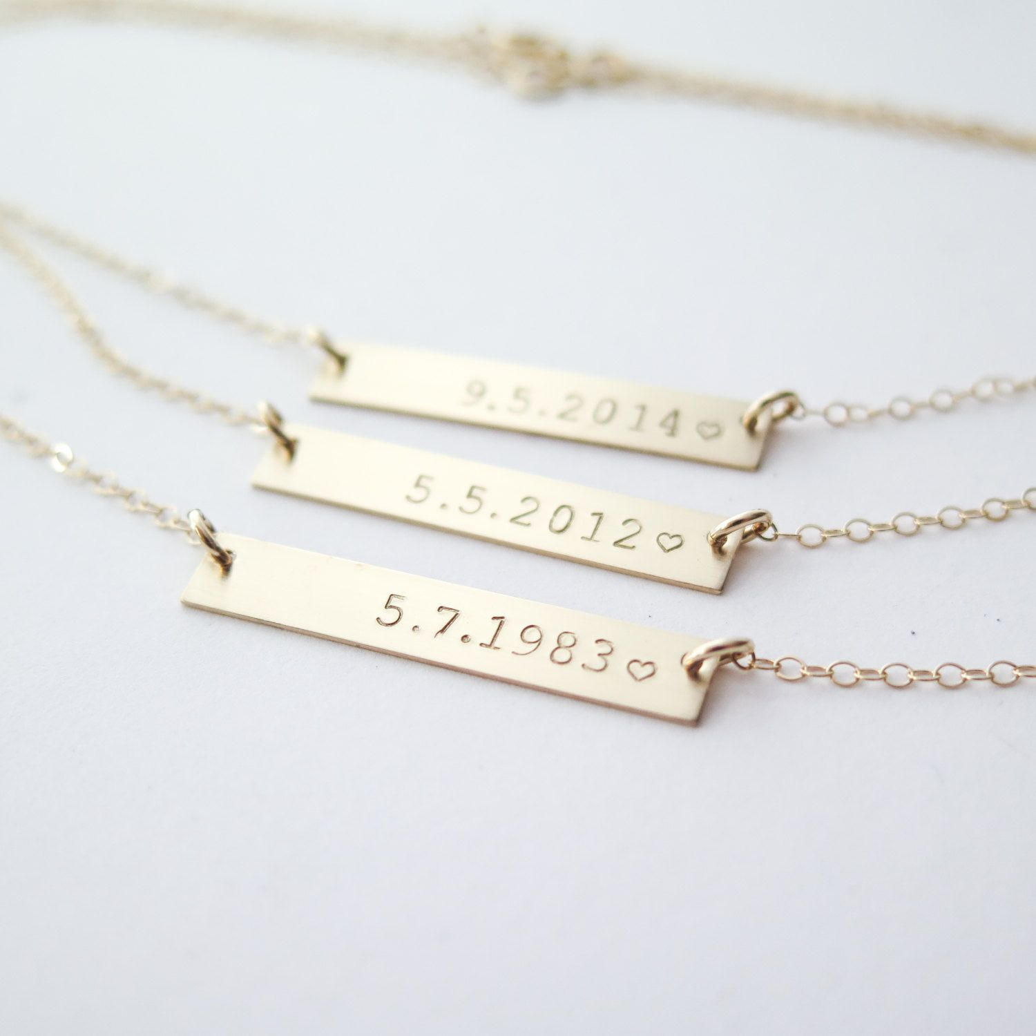 Personalized Date Custom Gold Fill Bar Necklace Hand Stamped