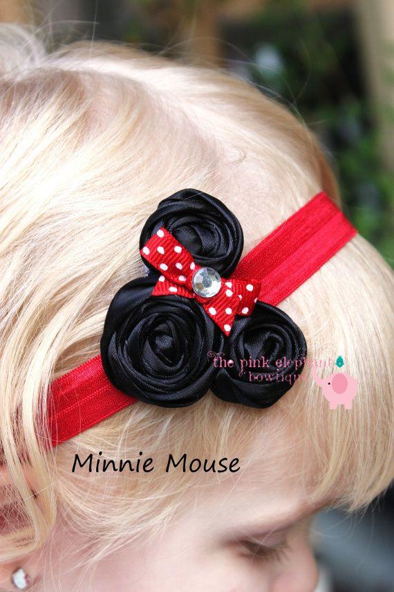 Minnie Inspired Headband-Baby Girl Headband-Newborn Headband-Infant Headband-Baby Headband-Rosette Headband-Photo Prop-Toddler Headband. $14.00, via Etsy.