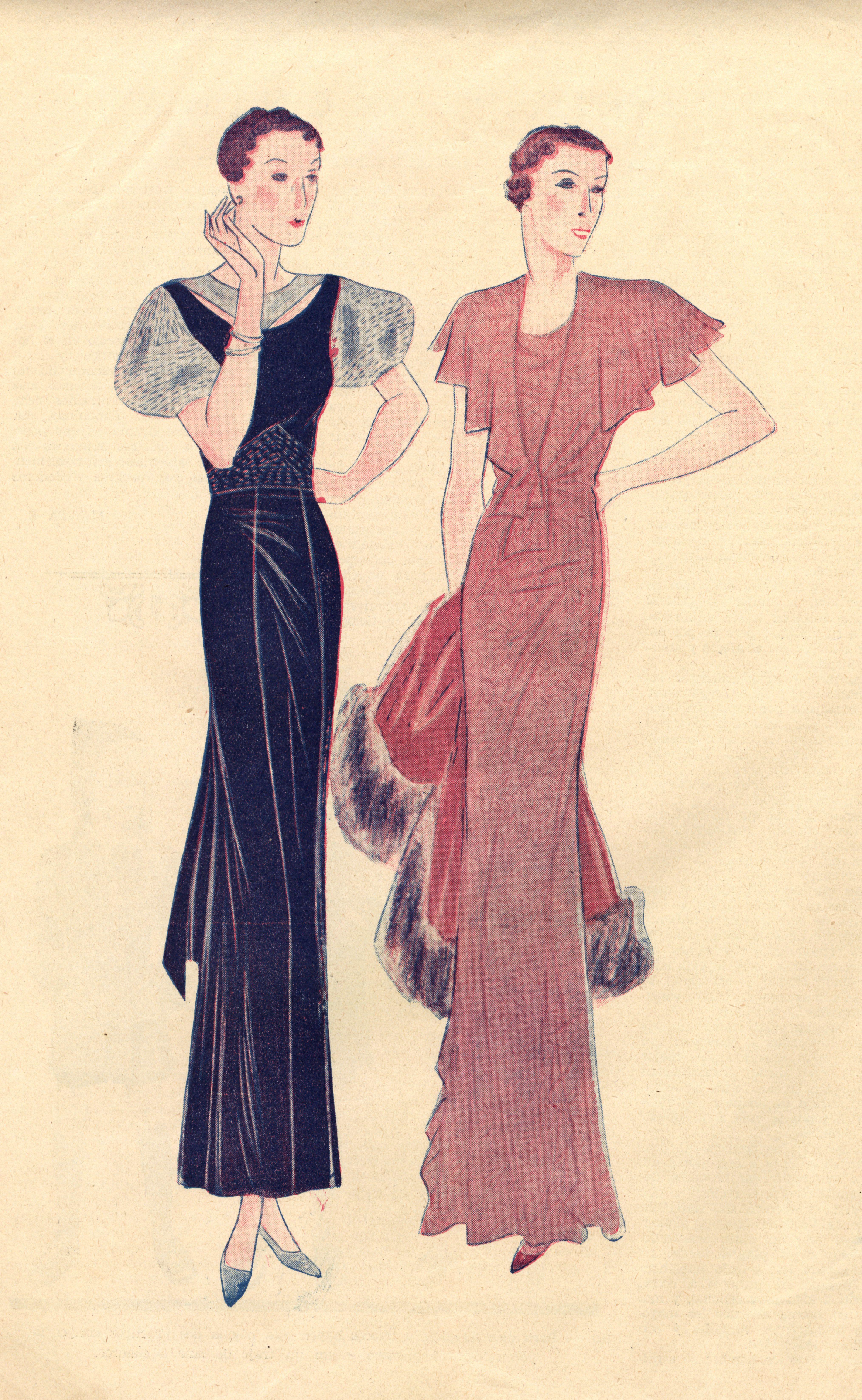 Diseño de dos vestidos de noche, uno de ellos complementado por un abrigo de pelo natural. Siempre marcando cintura. Listas para salir!