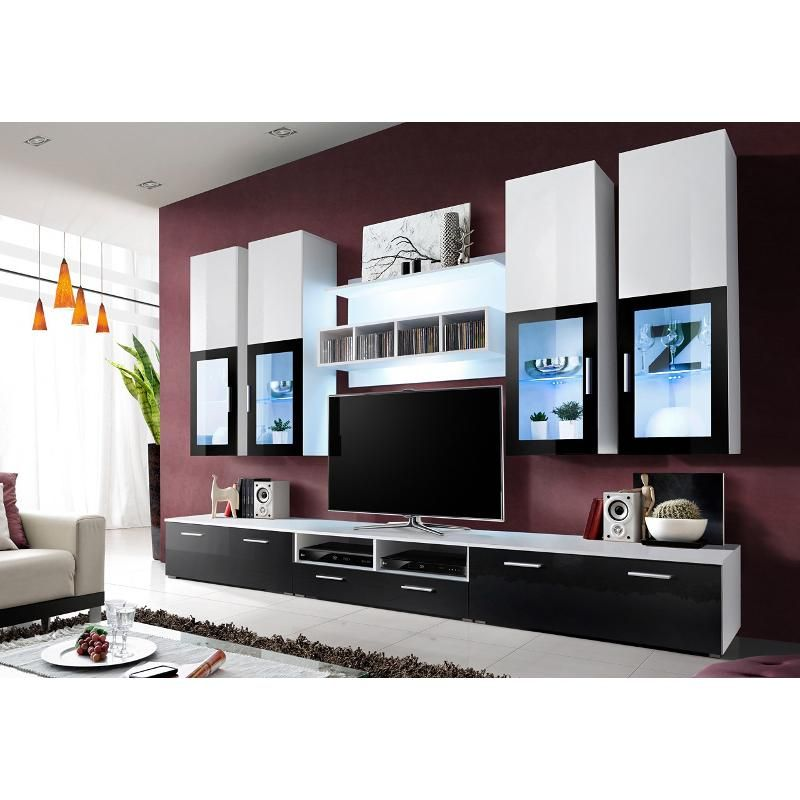 meuble tv design laqu london avec eclairage led muebles pinterest meuble tv design tv. Black Bedroom Furniture Sets. Home Design Ideas