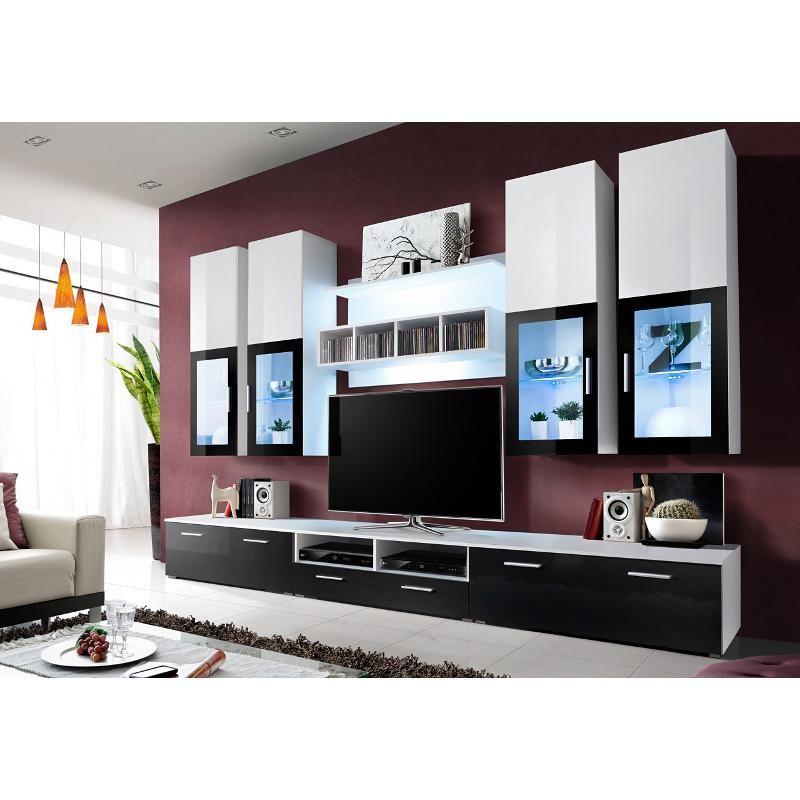 Meuble TV Design Laqué LONDON avec Eclairage LED | amenajare ...