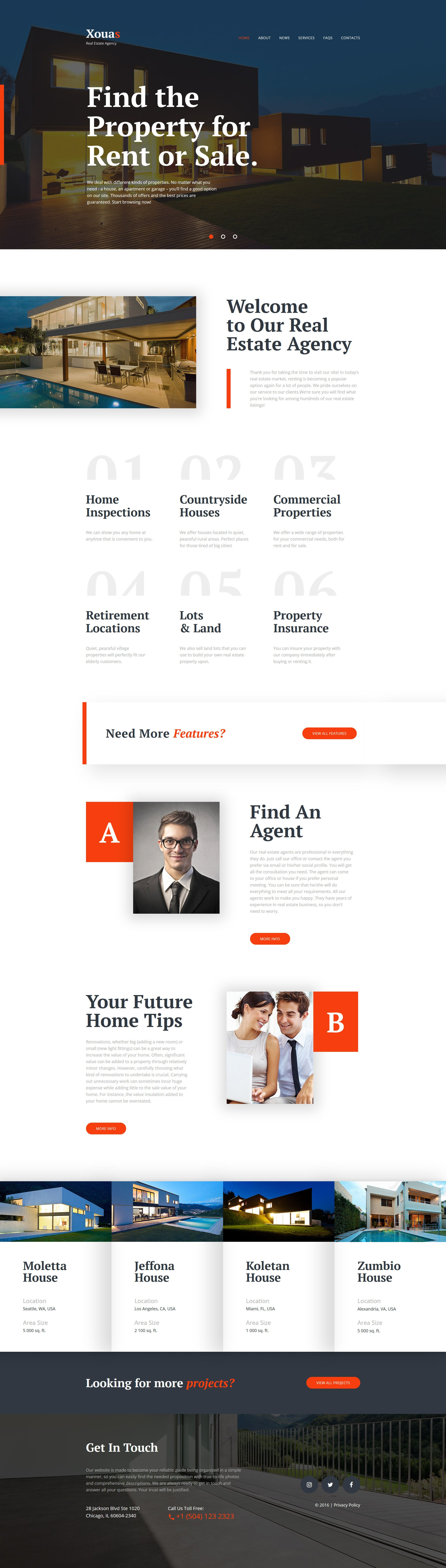 Xouas Real Estate Agency Responsive Website Template Website