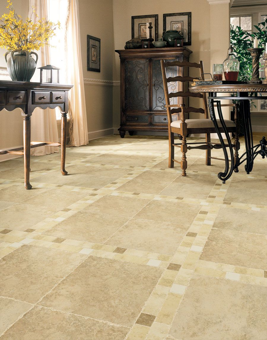 Room Chic Idea For Dining With Classic Stone Flooring