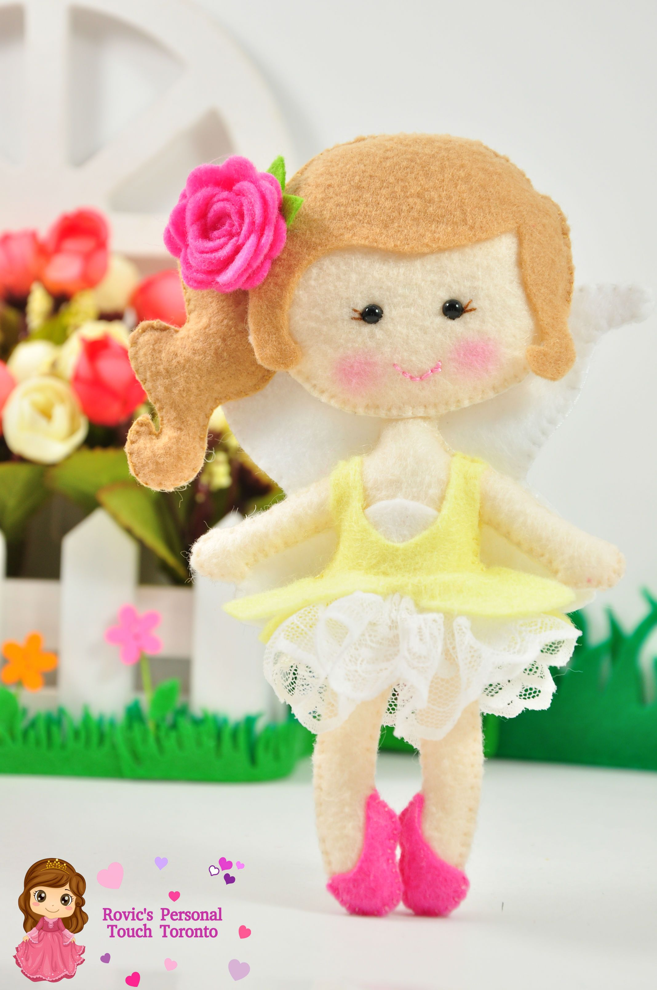 My garden fairy felt doll plushy.. add on for my name wall decor ...