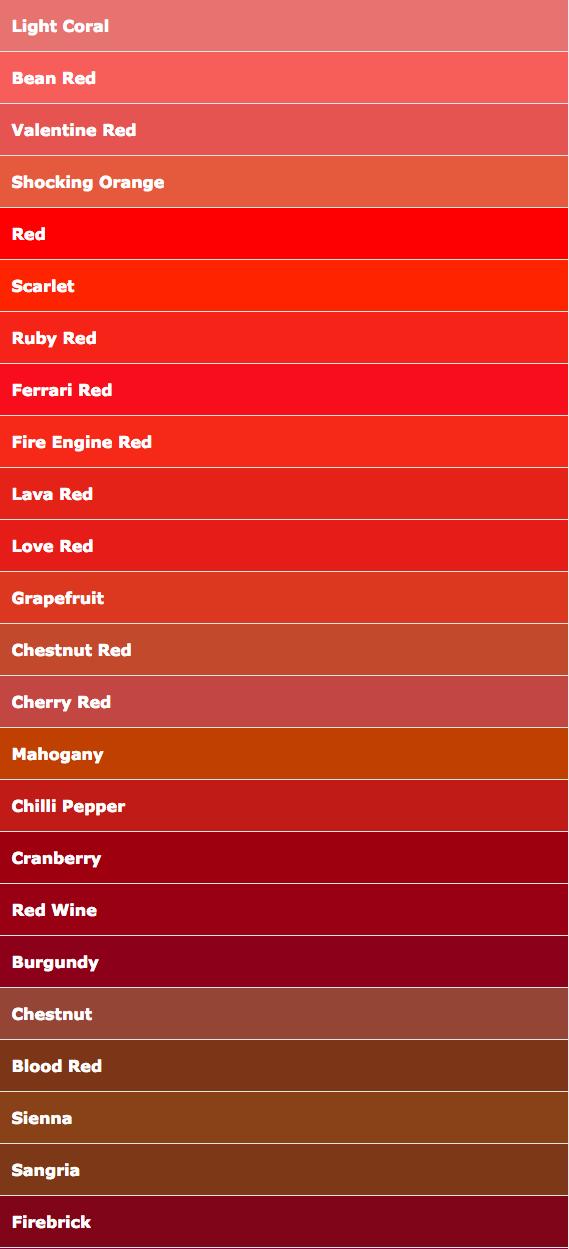 Color Names Red Psychologie Der Farben Farbenpsychologie Psychologie