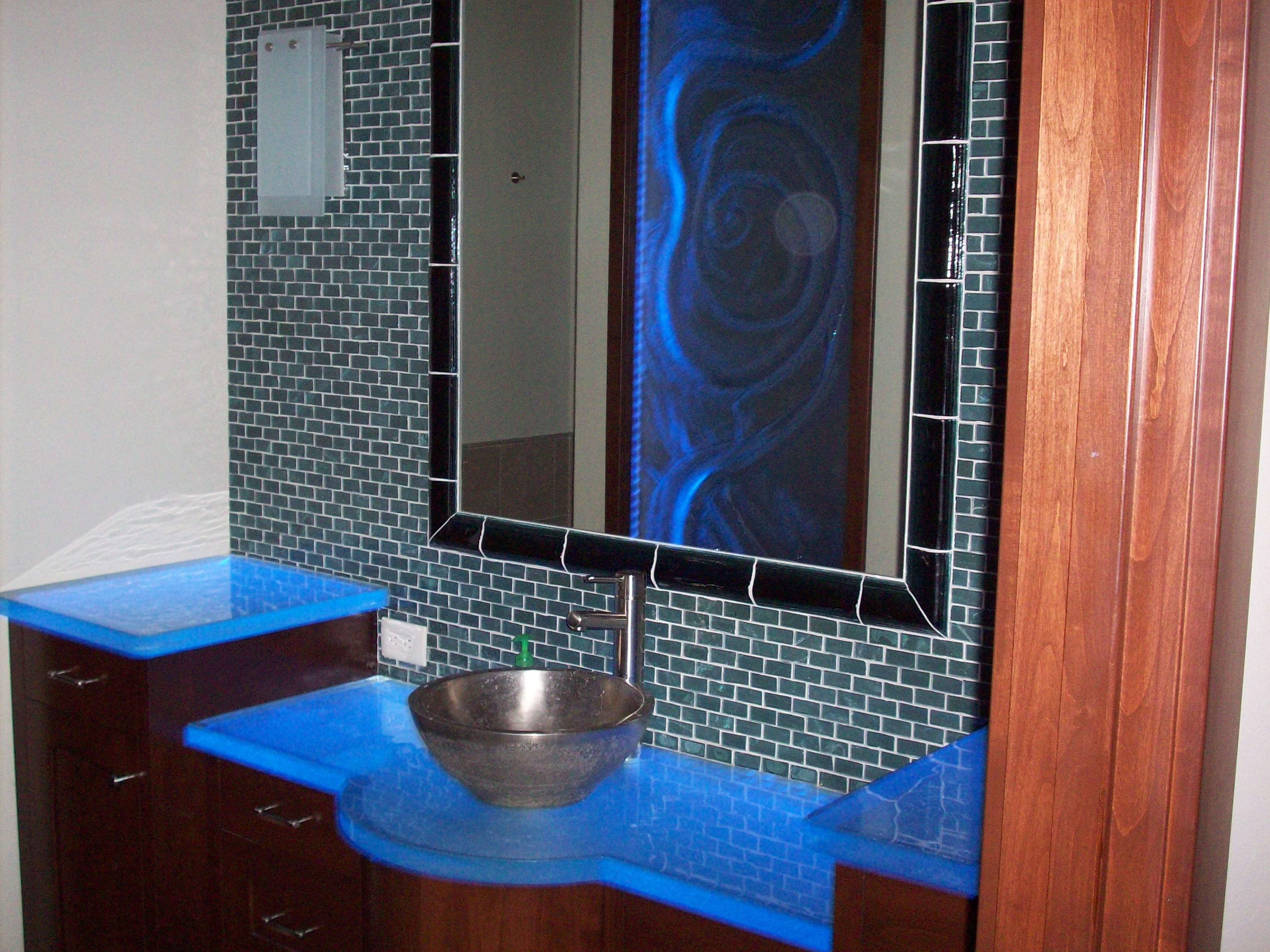 Change color of bathroom tile - Uplit Thinkglass Countertops That Change Color With Embedded Led Light System Glass Window Reflected