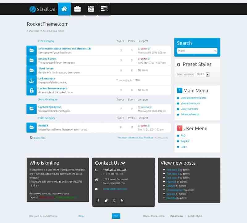 Stratos phpBB Style, Premium phpBB3 theme from RocketTheme | Forum ...