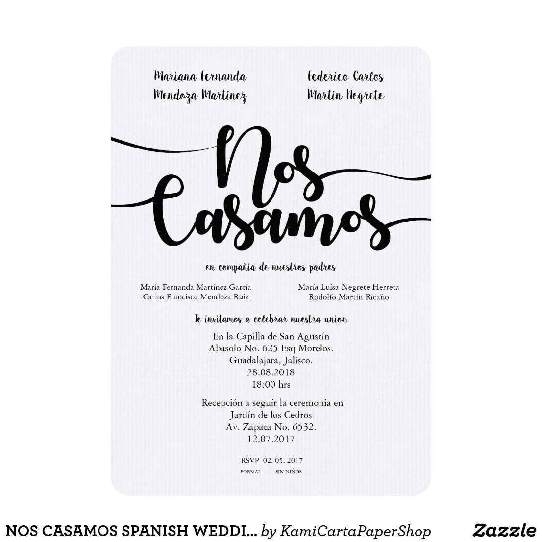 Nos Casamos Spanish Weddin Invitation Zazzle Com Spanish Wedding Invitations Fun Wedding Invitations Weddin Invitations