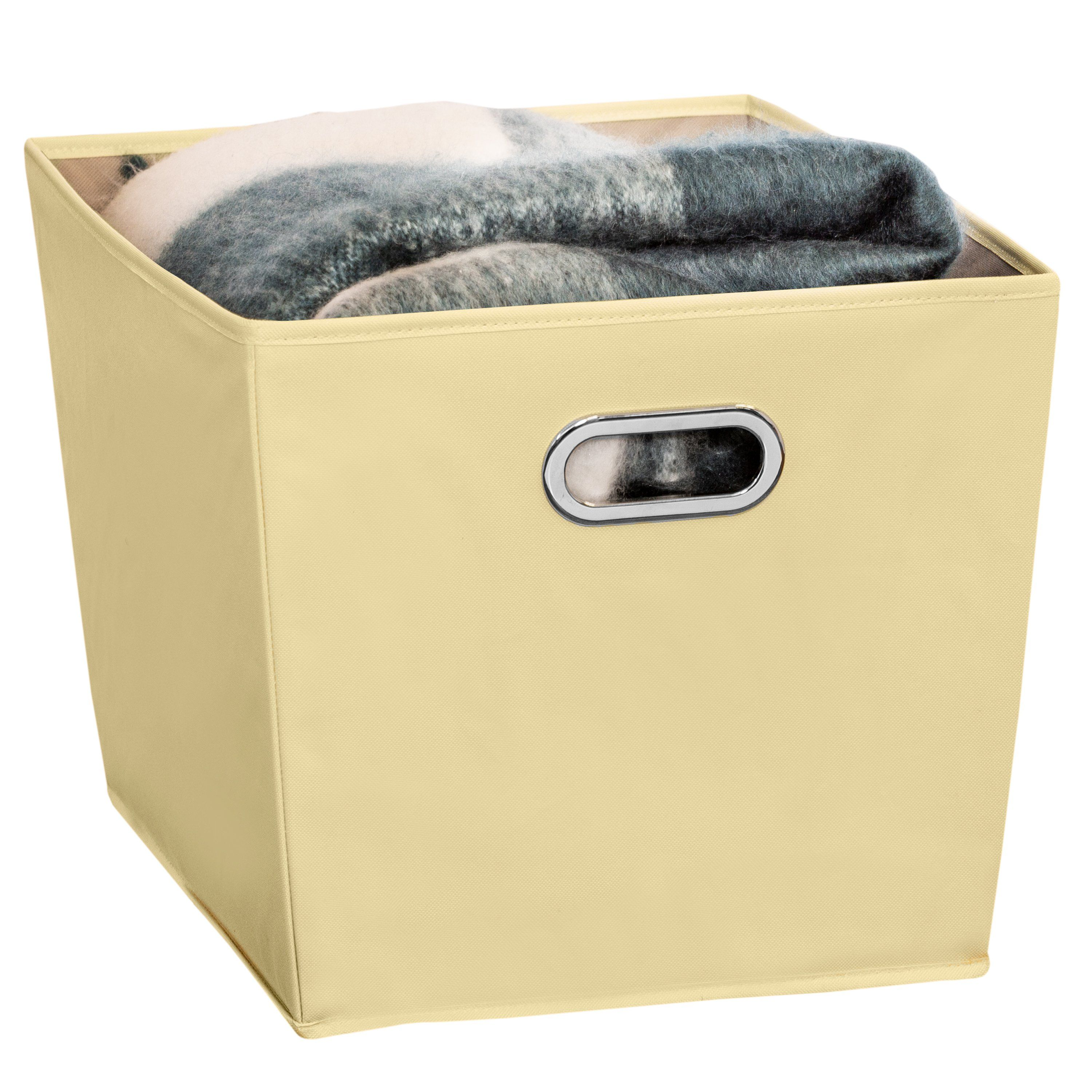 """Bin perfect for any storage needs: closet, kitchen essentials, office, bath, even toys Durable polyester construction stands up to heavy items such as books Bold look of storage containers adds design element to any room Storage bins coordinate with Honey-Can-Do small and medium nesting storage bins Dimensions: 19""""L x 17""""W x 13""""H SFT-08208 You've got stuff – all kinds of stuff – everywhere. You have a date circled on your calendar when everyone will be out of the house and you are going to Get."""
