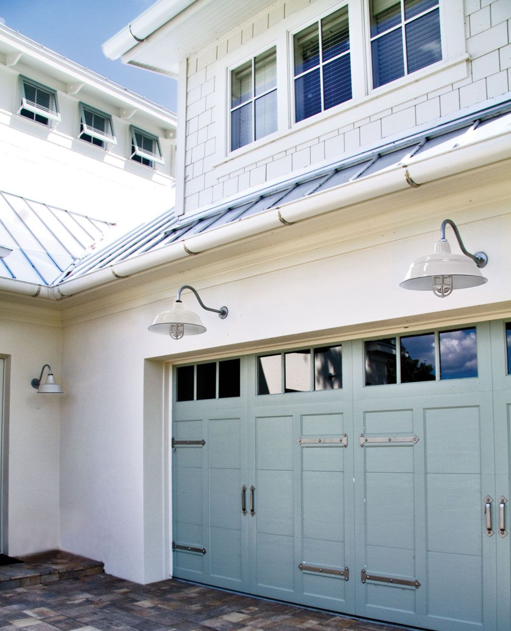 "Lights On Inside Of Garage Door: A Photo Of One Of A Customer Garage With Our 17"" Bomber"