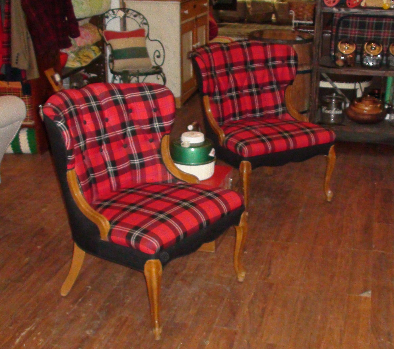 Vibrant Red Plaid Chairs | Brimfieldus.com