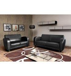 Ensemble salon canapés 2 et 3 places à base de simili cuir coloris noir