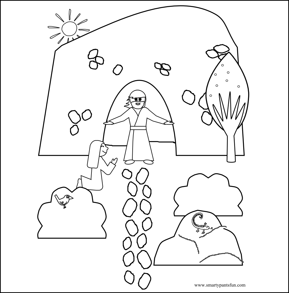 easter resurrection bible coloring sheet smarty pants fun free