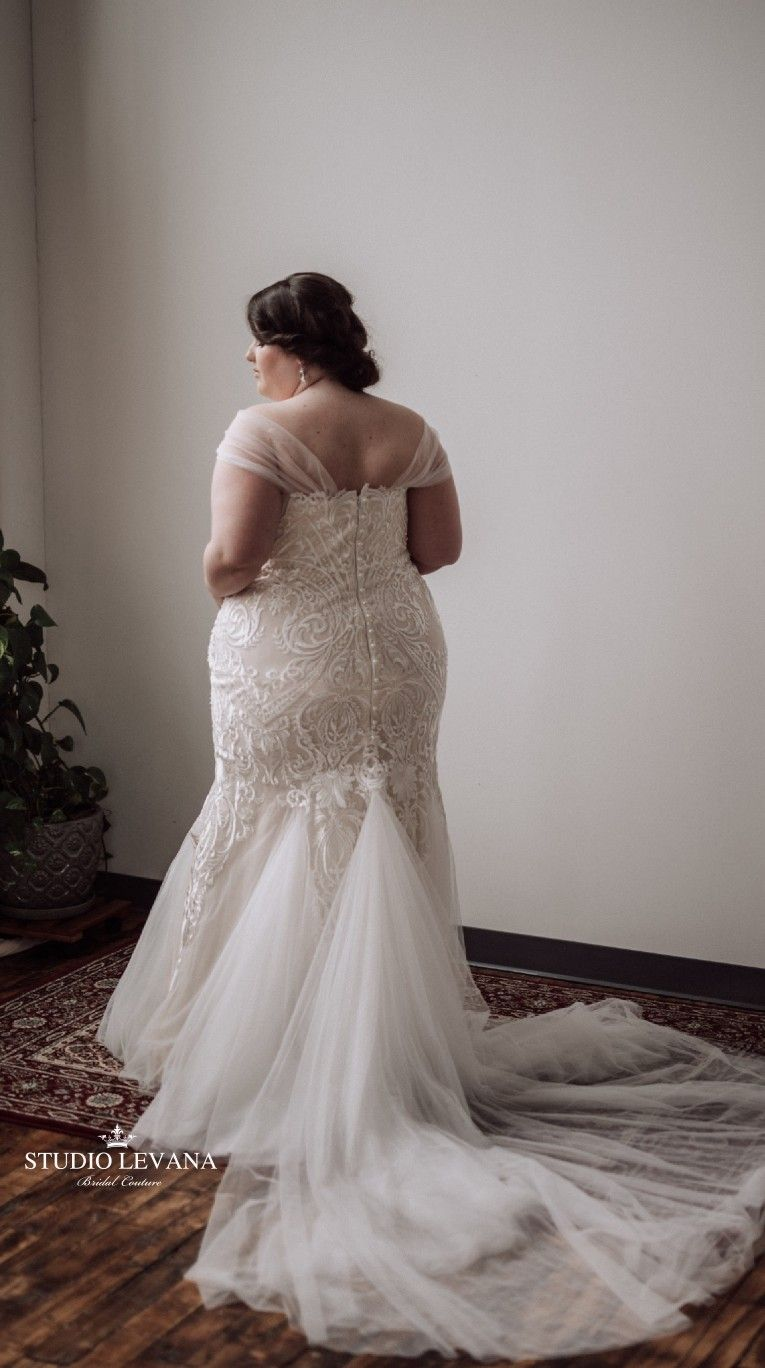 Mermaid plus size wedding dresses  Plus size sexy mermaid lace blush strapless wedding gown with off