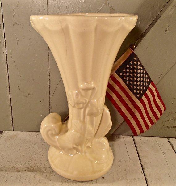 Usa Made Vase Shawnee Pottery Cornucopia Vase By Americanblondie