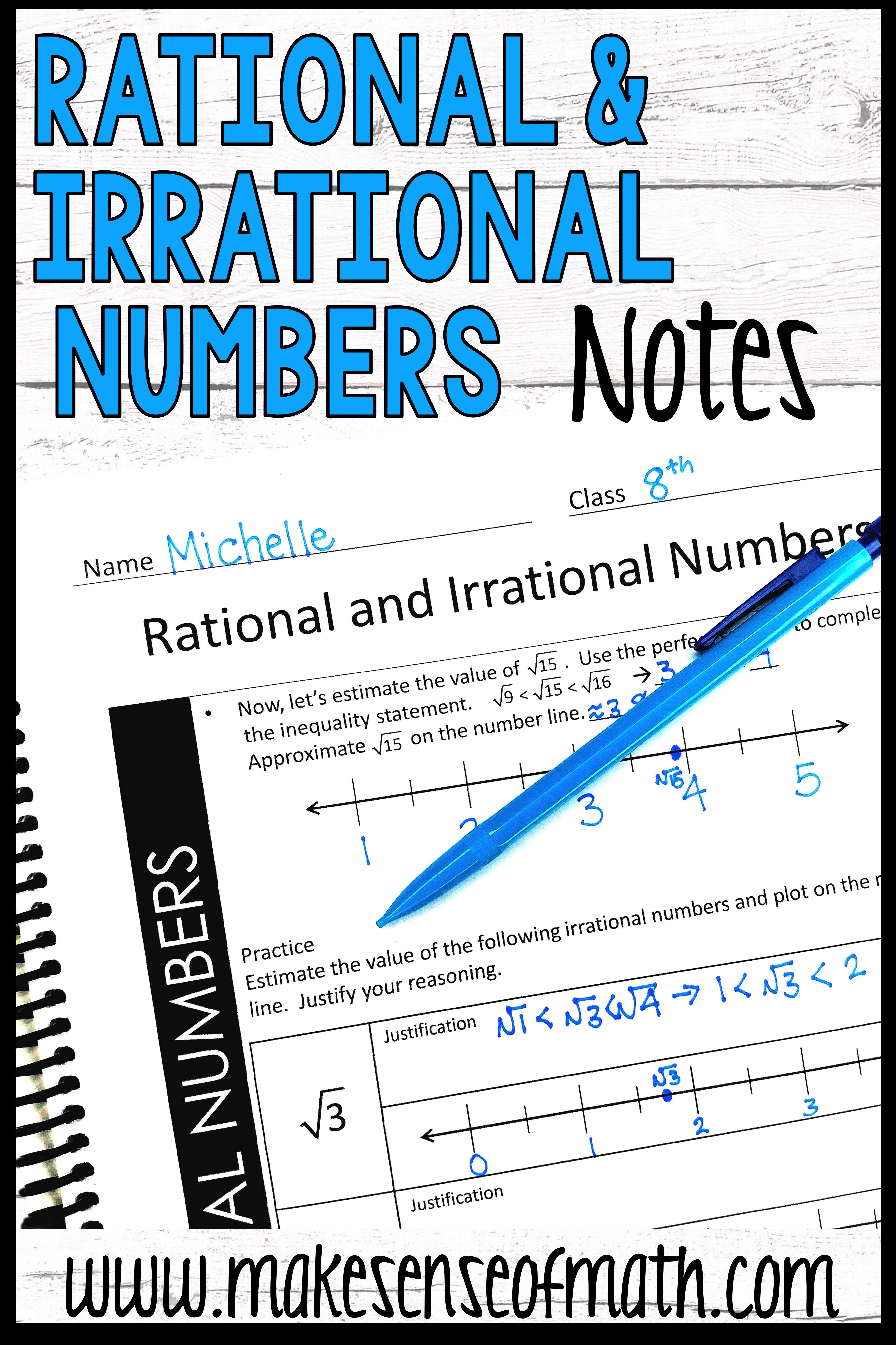 Fresh Ideas - Rational and Irrational Numbers Guided Notes Real Number